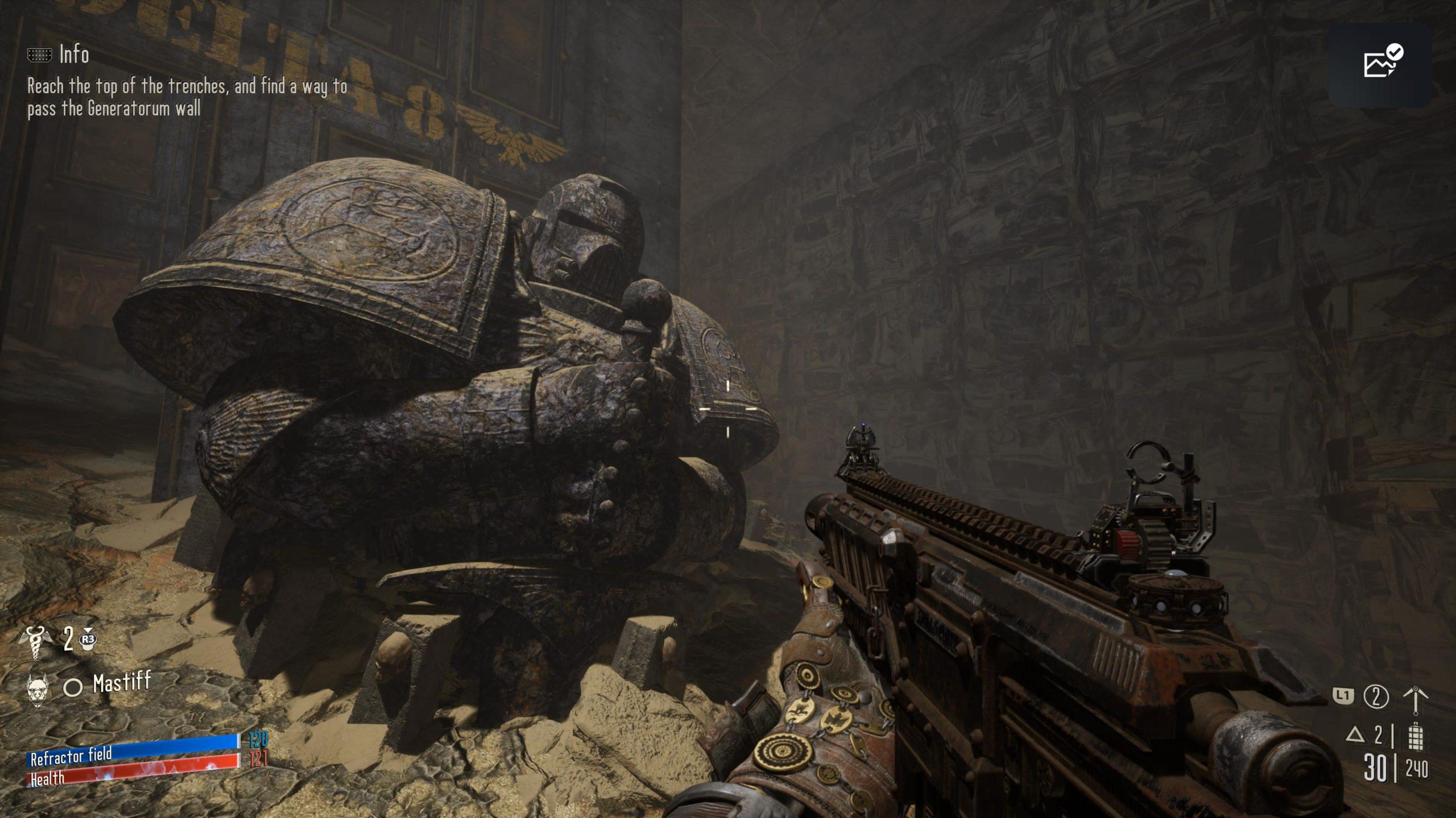 Necromunda: Hired Gun Imperial statue